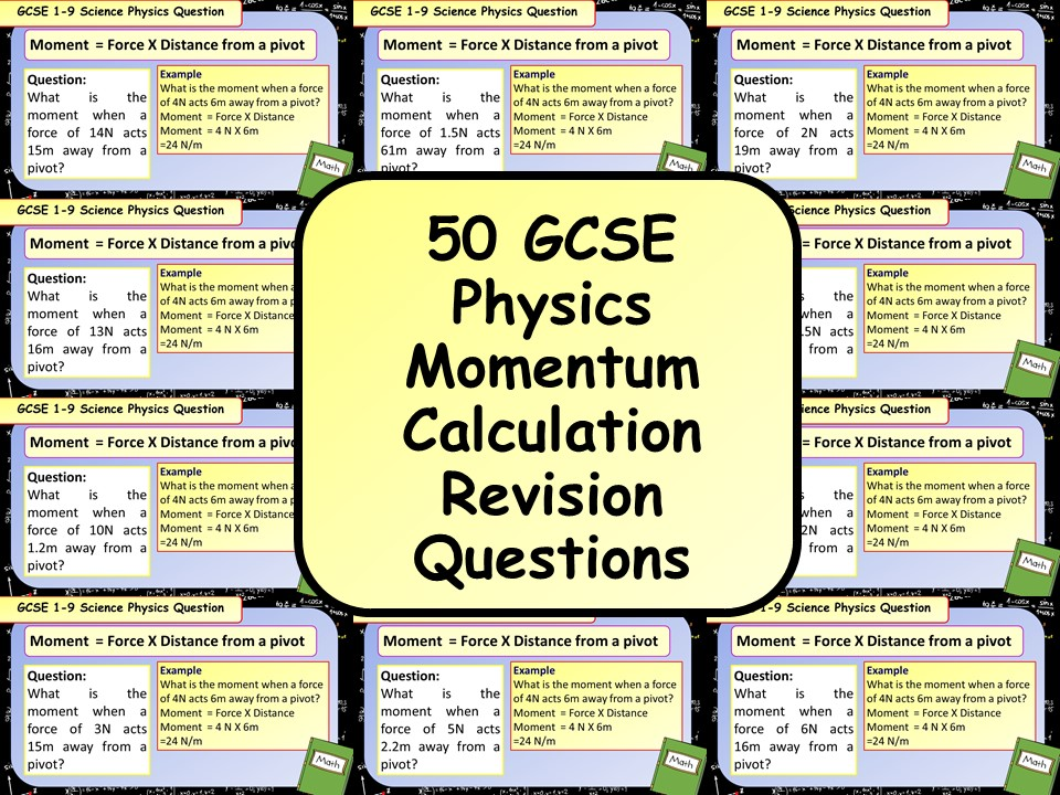 £1 ONLY: 50 GCSE Physics (Science) Momentum Calculation Revision Questions