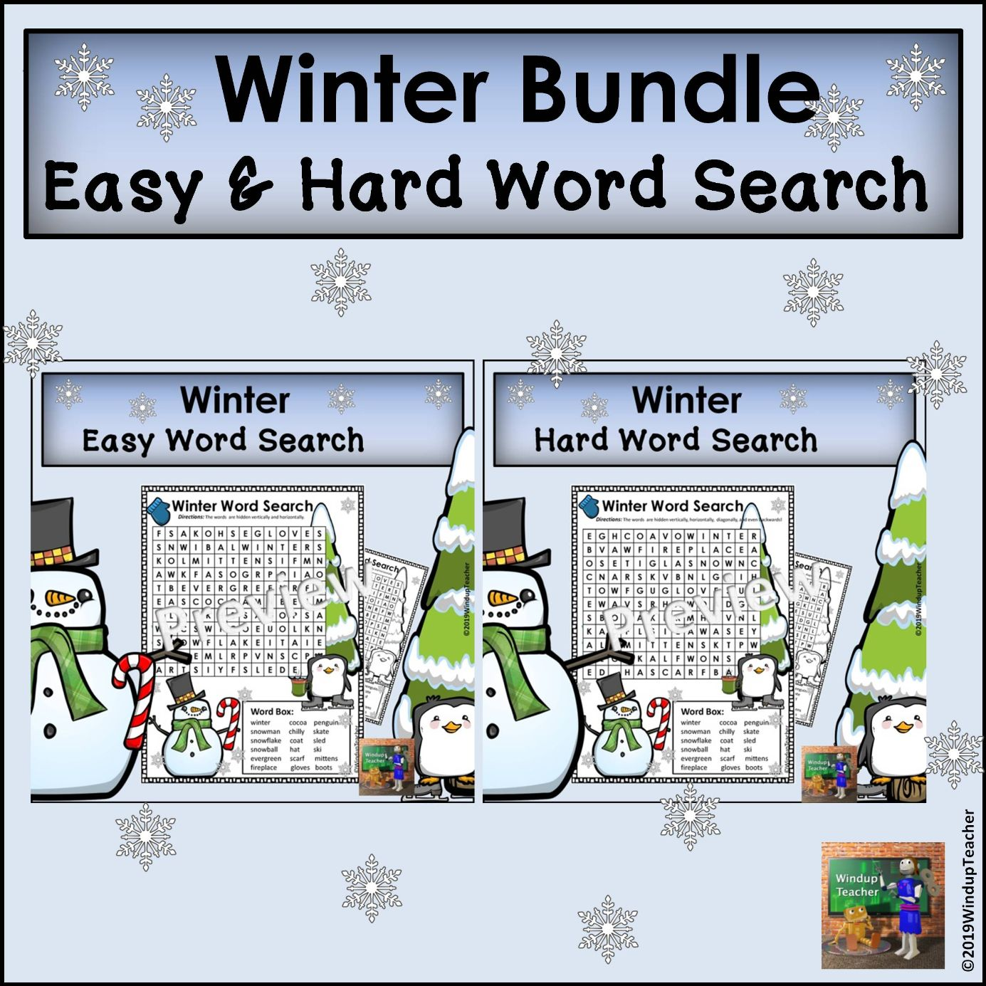 Winter Word Search - Easy and Hard BUNDLE