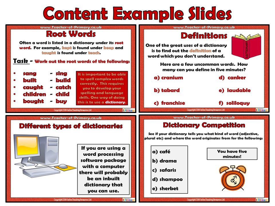 Dictionary Skills (PowerPoint presentation) by Teacher-of-Primary ...