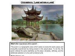 Close reading notes - analysis of Oodgeroo, 'Lake within a lake'