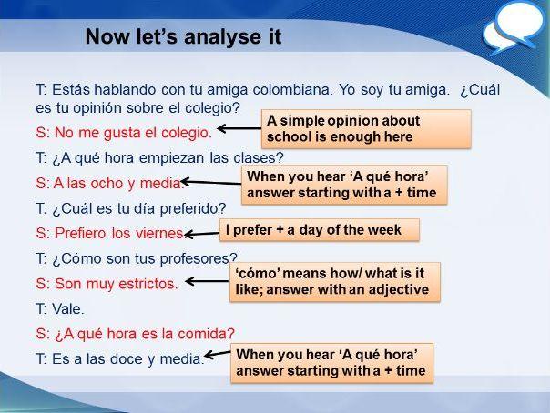 Spanish GCSE Foundation school role play 1