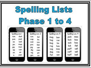 16 Spelling Lists Phase 1 to 4