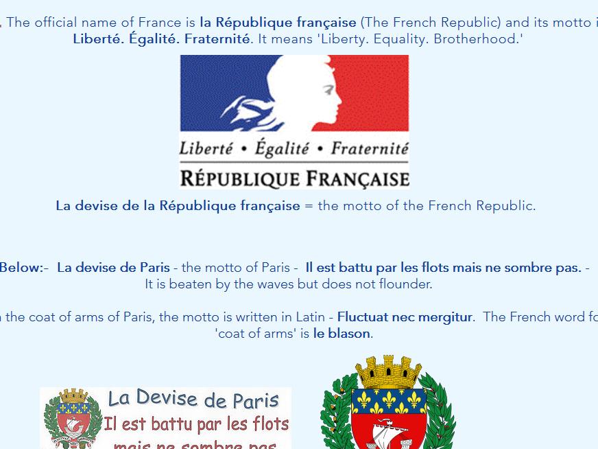 La Culture Générale - General Knowledge About France: Worksheets, Web Pages & Teacher's Notes
