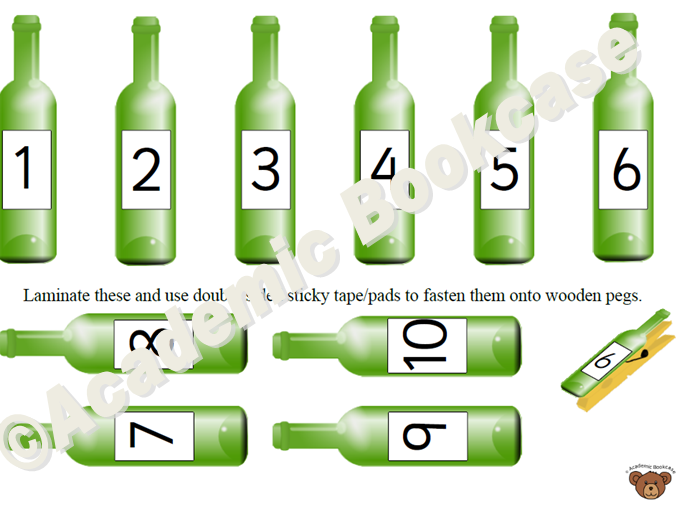 Song wall activity - 10 green bottles *REQUIRES WOODEN PEGS + LAMINATING*