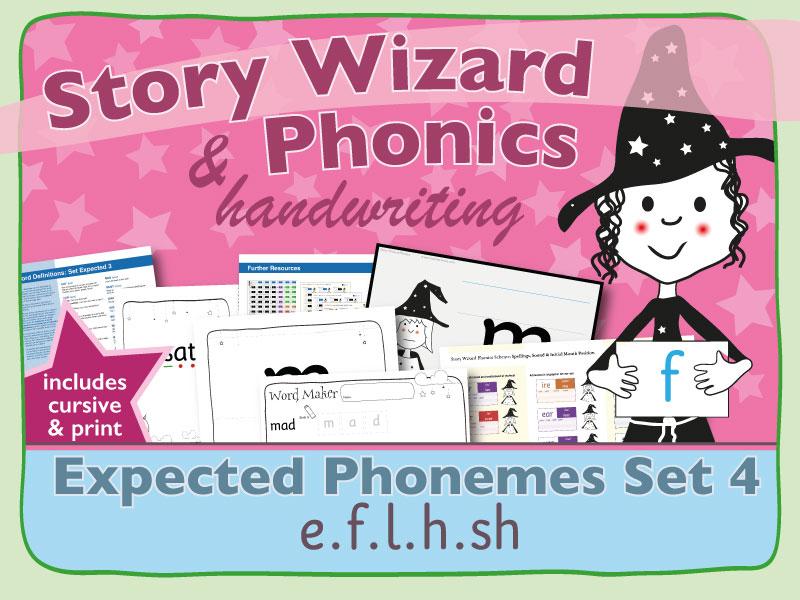 Phonics & Handwriting: Expected Phonemes Set 4: e.f.l.h.sh