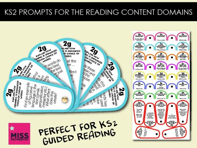 Questions for KS2 Reading Content Domains, Guided Reading Prompts, Reading Prompts Fan