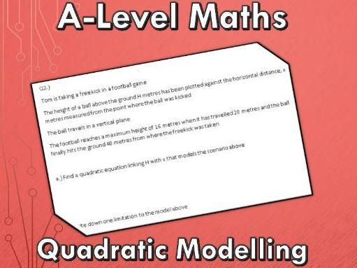 A-Level Maths (2017) Quadratic Modelling Exam Questions