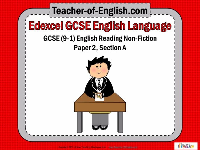 Edexcel GCSE (9-1) English Language - Reading Non-fiction – Paper 2 Section A (PPT and worksheets)