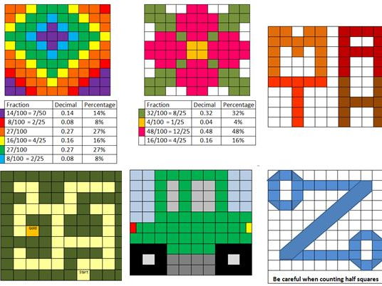 Fractiondecimal Percentage Mosaic By Mabooth Teaching Resources Tes