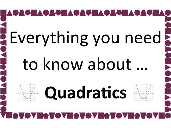 Complete Guide to Quadratics inc factorising, completing the square, formula, sketching