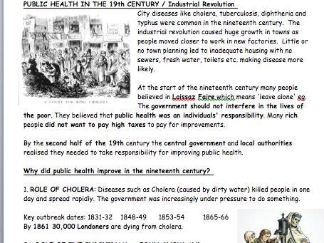 GCSE History Edexcel Medicine SHP B - Independent Revision Programme
