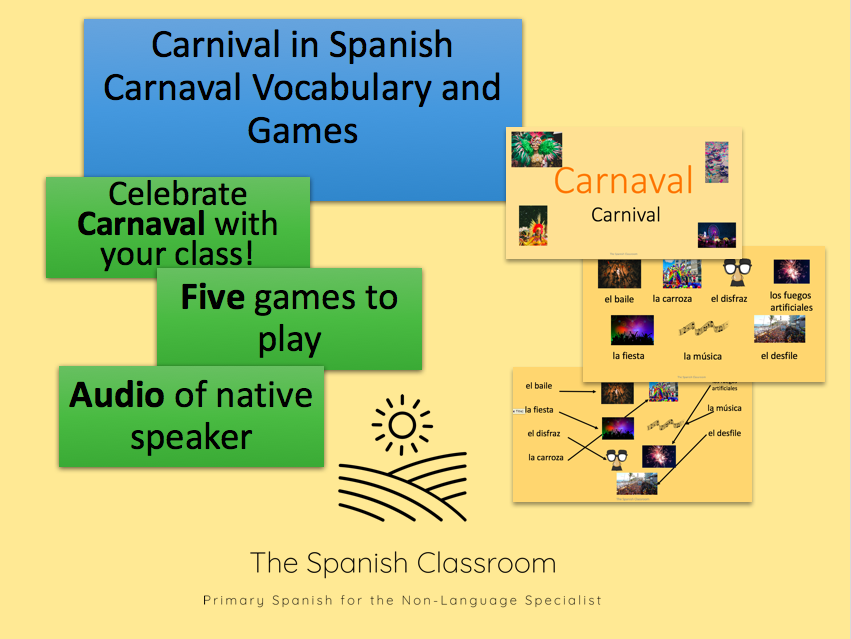 Carnival in Spanish Carnaval PowerPoint Vocabulary and Games