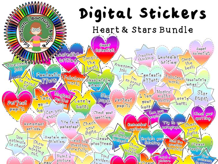 Hearts & Stars Digital Sticker Bundle: Google Classroom, SeeSaw, Distance Learning