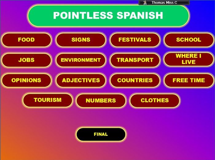 Pointless GCSE Spanish Vocabulary Game