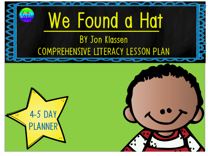 We Found a Hat by Jon Klassen 4-5 Day Lesson Plan