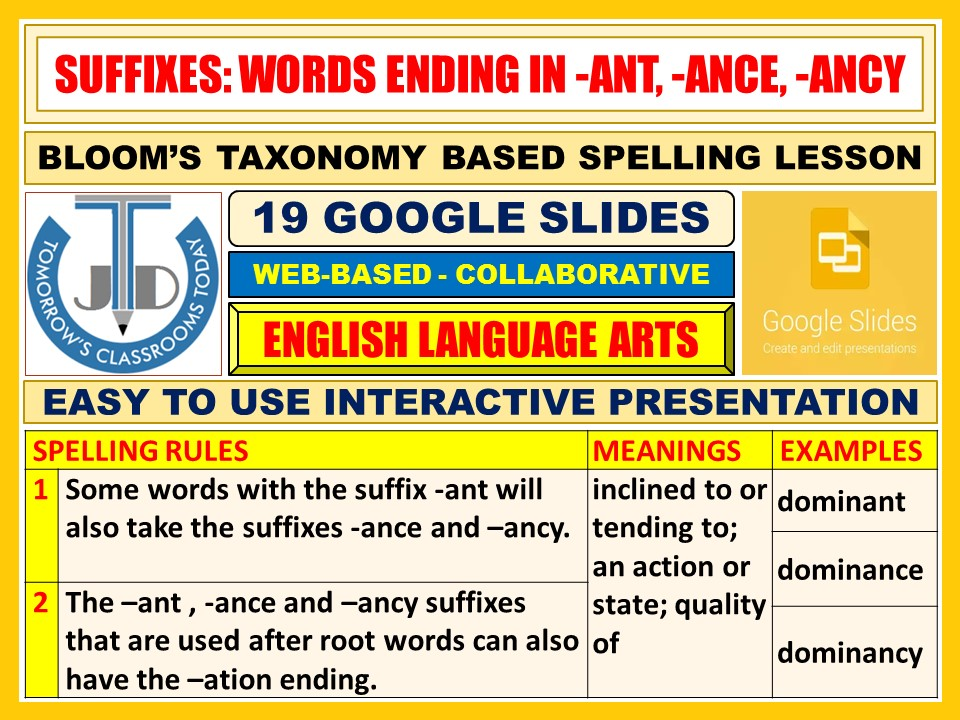 SUFFIXES: WORDS ENDING IN -ANT, -ANCE, -ANCY - 19 GOOGLE SLIDES