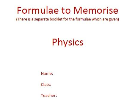 GCSE Physics Worksheets: All the formulas to memorise with definitions, Q&A and answers