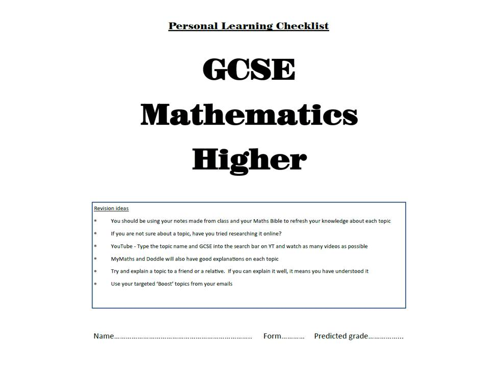NEW 9-1 Maths Personal Learner Checklist - GCSE Higher Grade/Topic