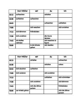 Reflexivverben (German Reflexive verbs) Tägliche Routine Info gap