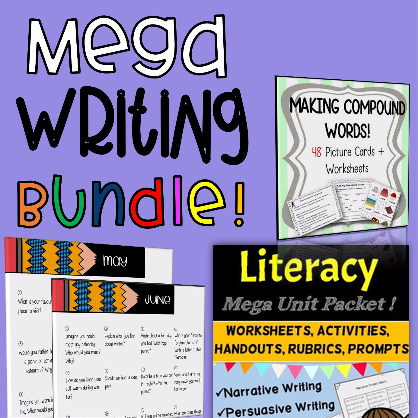 MEGA Literacy/ Writing Packet (guided lessons) AND ALSO Monthly Writing Prompts + Narrative/Persuasive Writing and Grammar + Compound Words BUNDLE