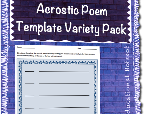 Acrostic Poem Template Differentiated Variety Pack