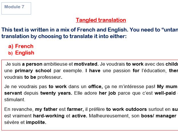 GCSE French Tangled Translation Bundles Modules 5-8