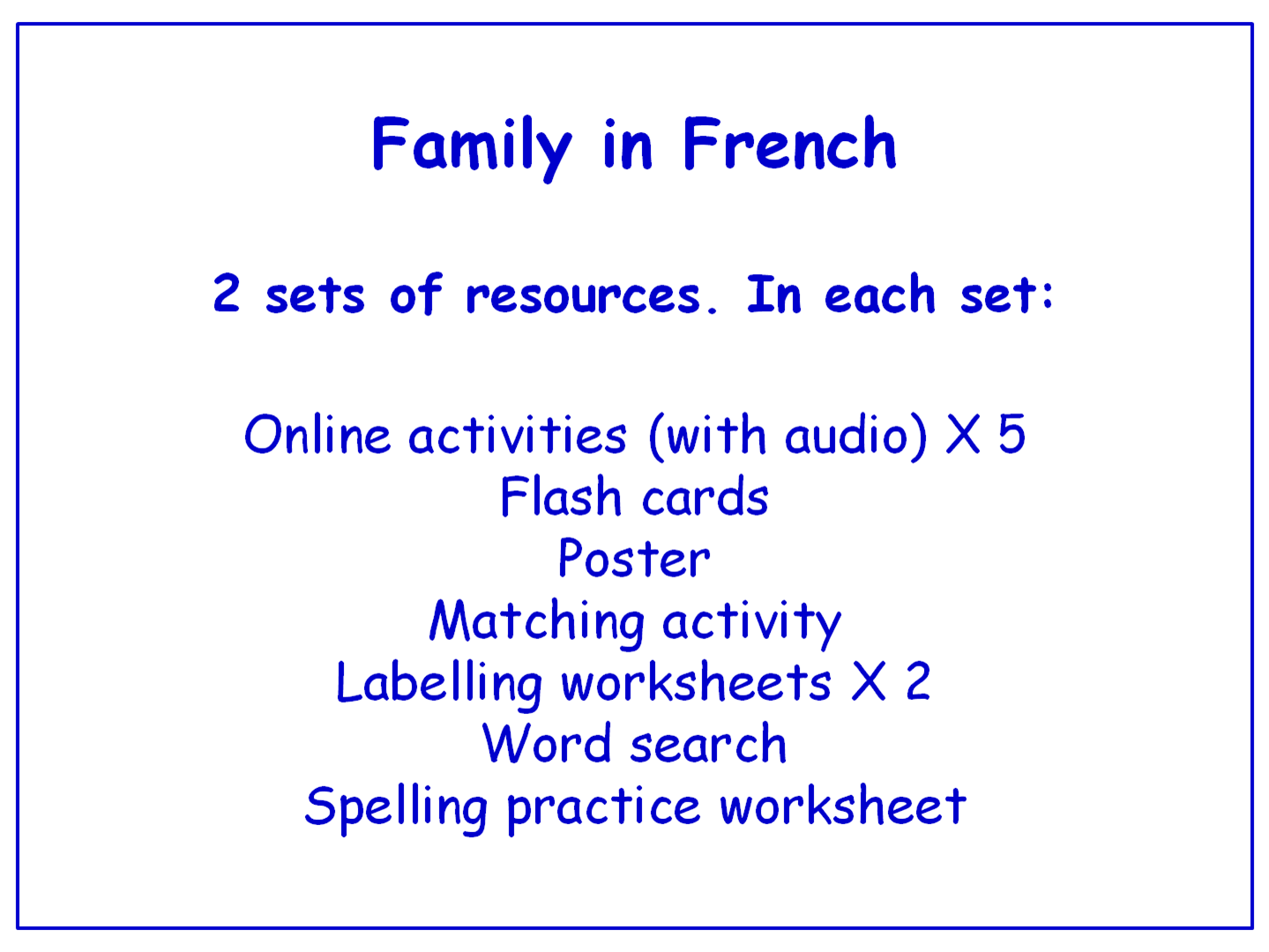 Family in French  Worksheets, Games, Activities and Flash Cards (with audio) Bundle (3 sets)