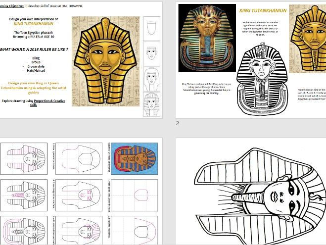 Ancient Egypt - King Tut Drawing Task -Differentiated Ability tasks - Topic based Art Design Tech