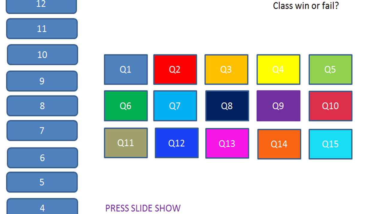 'Class win or fail' revision game. Template suitable for everything!. Bundle of pre-made ones