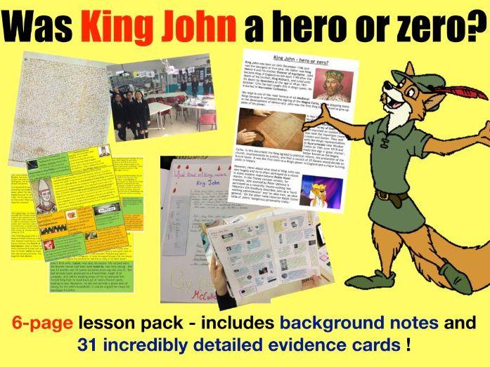 King John Interpretations - 6 page lesson pack