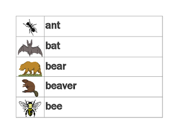 Animals in English word wall