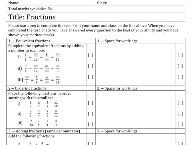 Quick Questions: Fractions (equivalent, ordering, and arithmetic operations) - with solutions