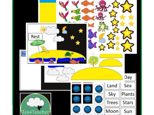 Creation Matching Sorting Game - Christian Bible Education 7 Days of Creation Great for Preschool