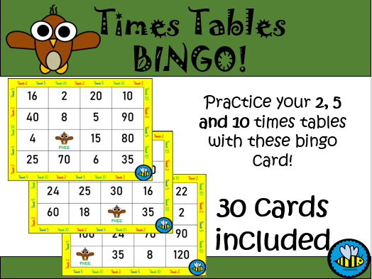 BINGO : 2, 5 and 10 times tables
