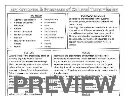 Sociology GCSE Knowledge Organiser - Key Concepts