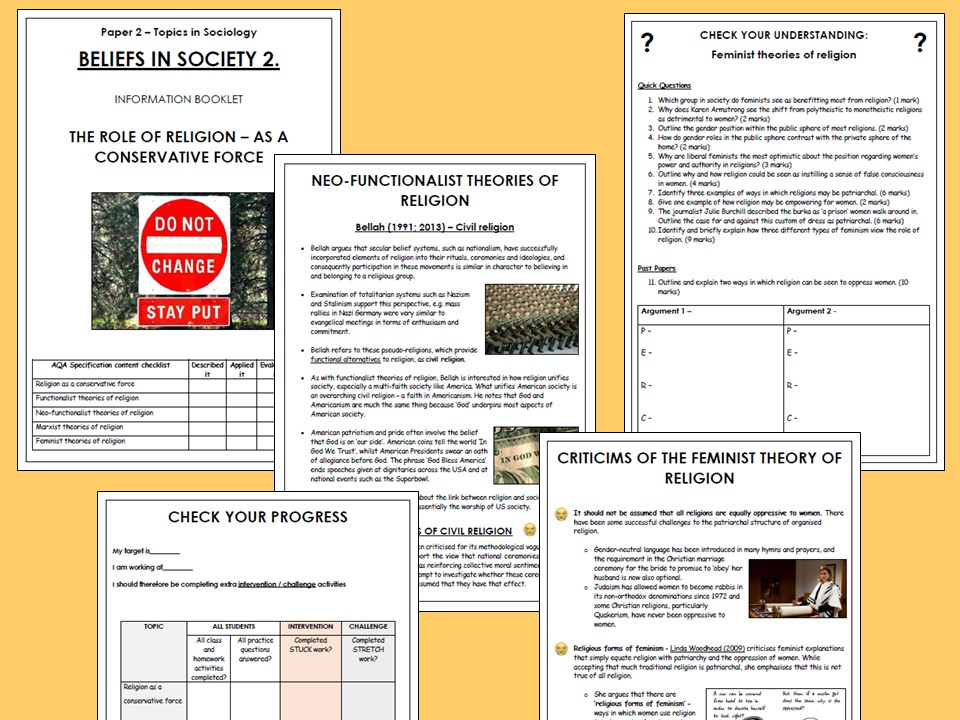 AQA A-level Sociology Beliefs in Society Booklet 2 - Religion as a Conservative Force