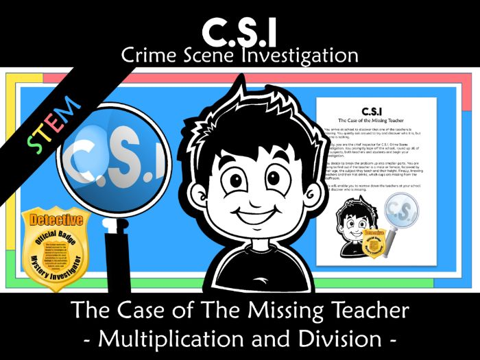 CSI: Math Murder Mystery -The Missing Teacher - Multiplication and Division