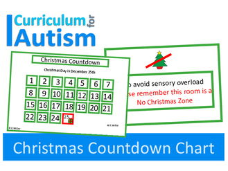 Christmas Countdown Chart & Sensory Overload Poster for pupils with Autism