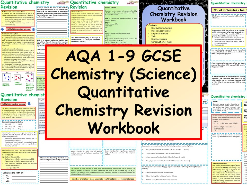 AQA 1-9 GCSE Chemistry (Science) Quantitative Chemistry Revision Workbook
