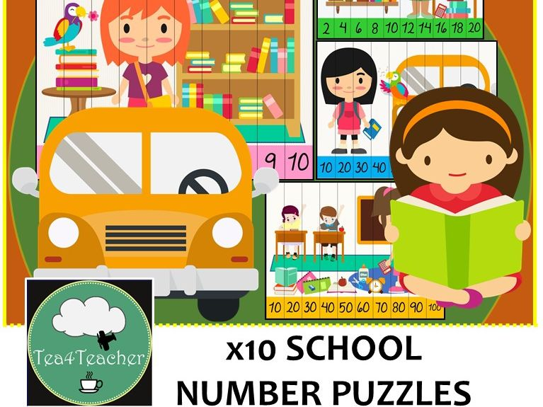School Number Puzzles - 10 Preschool/Year 1 Puzzles 1-10, 2-4-6, 5-10-15, 10-20