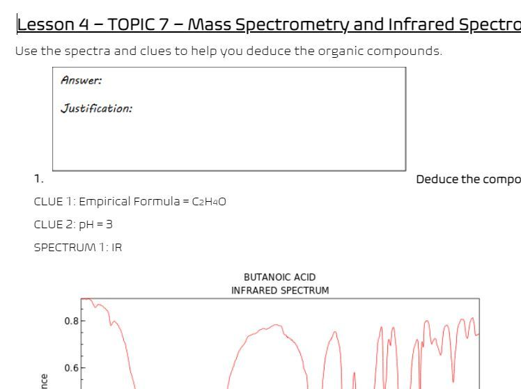Analysis using Mass Spectrometry and Infrared Spectroscopy -Booklet Activity (A-Level Chemistry)