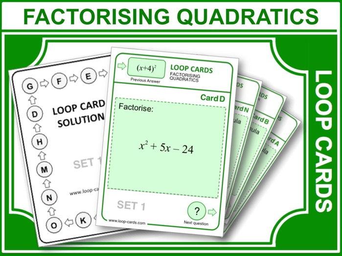 Factorising Quadratics (Loop Cards)