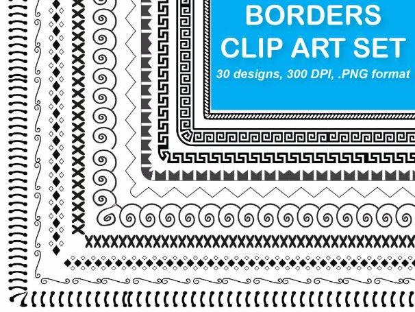 30 Borders Clip Art Set 3