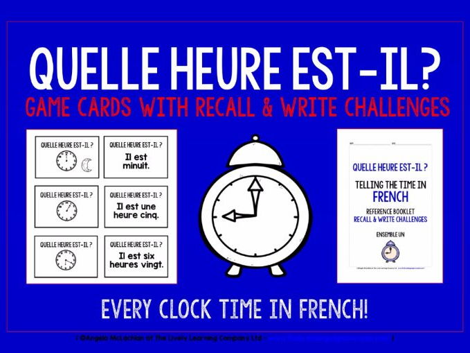 FRENCH TELLING THE TIME MATCHING CARDS & RECALL CHALLENGES - EVERY ANALOGUE CLOCK TIME!
