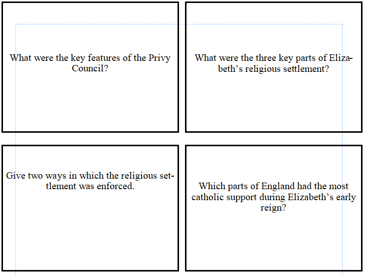 9-1 GCSE History - Early Elizabethan England - Blank Revision Flash Cards for Students to complete
