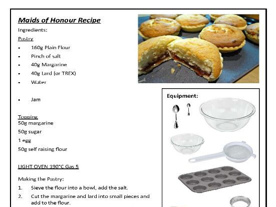 11 x 1hr Sweet Bake Off Recipes Food Technology with picture stages