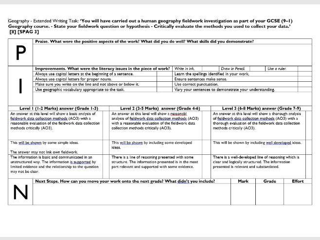 PIN Marking and Feedback Sheet - Geography Human  Fieldwork Exam Question