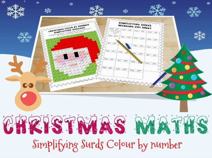 Christmas maths - surds colour by number