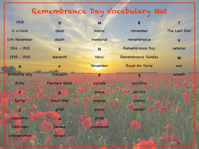 Remembrance Day Vocabulary Mat