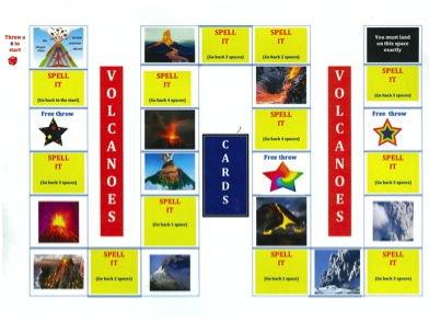 KS2 Volcanoes - Spelling - Board Game